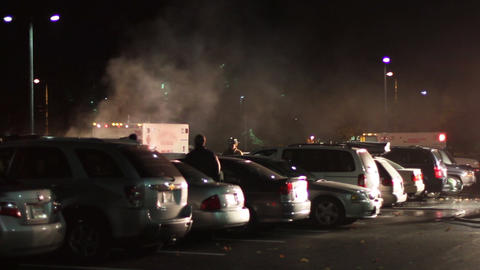 1615 Big Car Fire in Parking Lot Ambulance Driving Footage