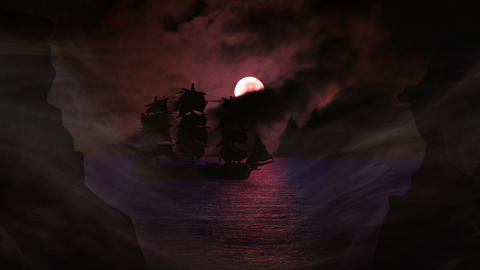 1637 Pirate/Colonial Sailboat with Full Moon, 4K Stock Video Footage