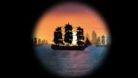 1641 Pirate/Colonial Sailboat at Sunset through Te Stock Video Footage