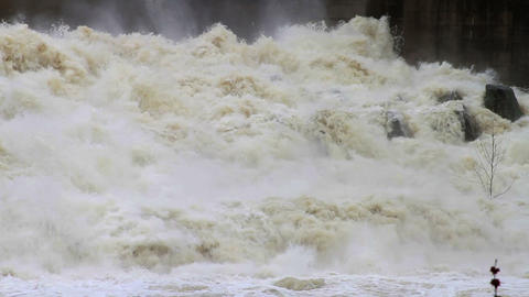 1466 Dam at Flood Stage White Water Rapids Stock Video Footage