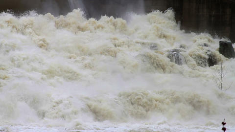 1466 Dam at Flood Stage White Water Rapids Footage