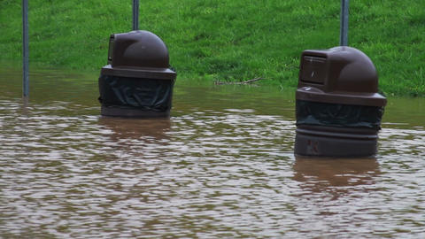 1493 Fast Moving River at Flood Stage, Flooding Pa Stock Video Footage