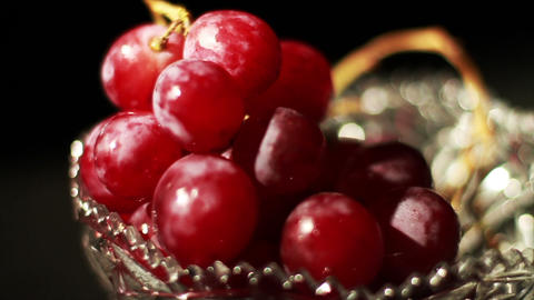 1502 Grapes Falling into Glass Bowl, Slow Motion Live Action