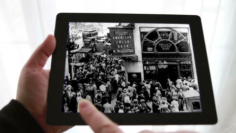 Stock Market Crash 1929, Using a Tablet Stock Video Footage