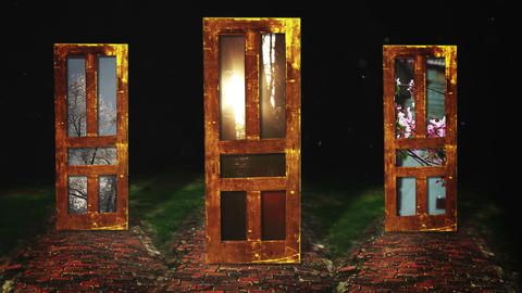 Three Doors Which One Will You Choose, 4K Footage