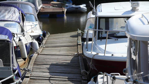Boats Moored At The Pier stock footage