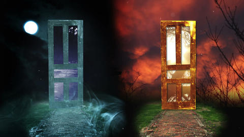 Light VS Darkness, Which Door Will You Choose, HD Footage