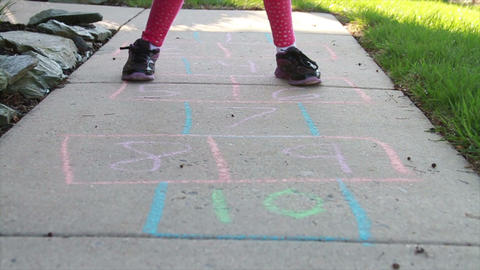 1300 Child Playing Hopscotch, Slow Motion Footage