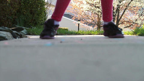 1302 Child Playing Hopscotch, Slow Motion Footage
