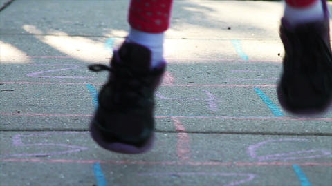 1304 Child Playing Hopscotch, Slow Motion Footage
