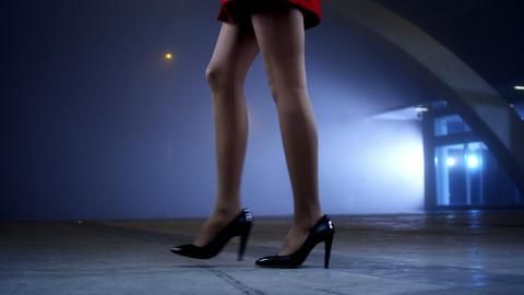 Elegant woman walk Stock Video Footage