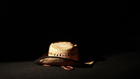 1344 Cowboy Hat Falling, Slow Motion Stock Video Footage