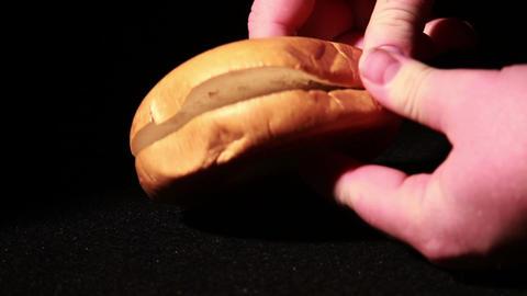 1348 Bagel Being Opened Footage