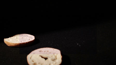 1350 Bagel Falling and Opening Up, Slow Motion Footage