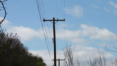 1352 Power Lines with Blue Sky Footage