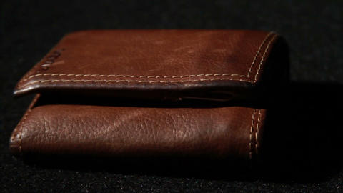1377 Leather Wallet Empty with No Money, Slow Moti Stock Video Footage