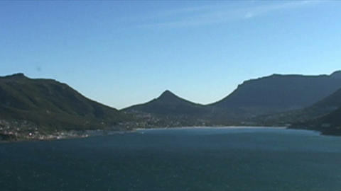 1398 Mountians by Ocean at the Tip of Africa Stock Video Footage