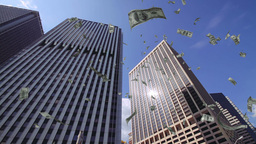 Dollar bills falling down from skyscrapers Footage