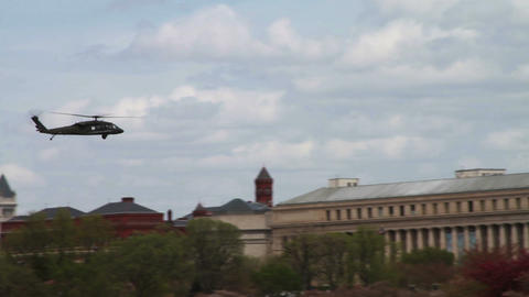 1221 Helicopter Flying by Washington and Jefferson Stock Video Footage
