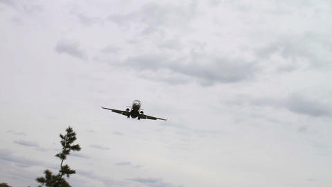 1269 Jet Airplane Landing at Airport Stock Video Footage