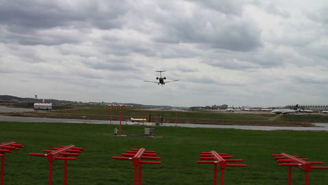 1269 Jet Airplane Landing at Airport Footage