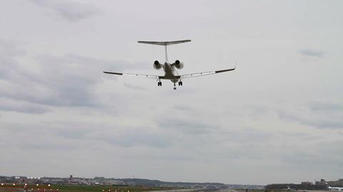 1284 Jet Airplane Landing at Airport Footage