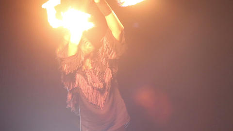 bearded man in fire performance Stock Video Footage