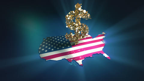 Falling Coins On The US Flag stock footage