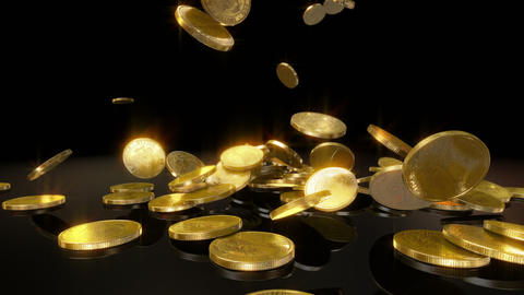 Coins Falling in slow motion Stock Video Footage