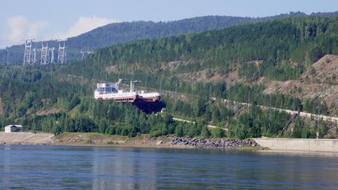 Ship lift moving down (Krasnoyarsk HPP, Russia) Live Action