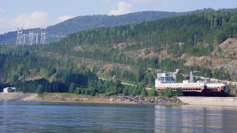 Ship lift moving down (Krasnoyarsk HPP, Russia) Stock Video Footage