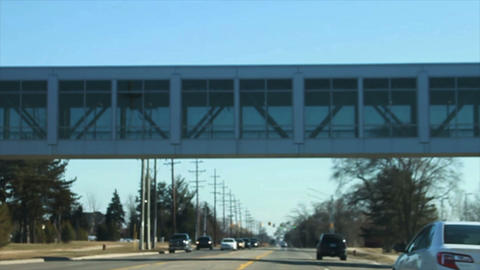 1081 Driving Under a Glass Walk Path, Slow Motion Stock Video Footage