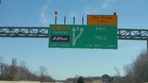1108 Driving upto Toll Booth, Slow Motion Footage