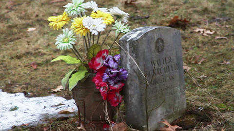 1112 Grave Stone With Flowers stock footage