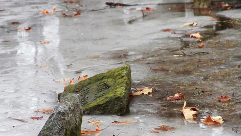 1114 Grave Stones Under Ice Stock Video Footage