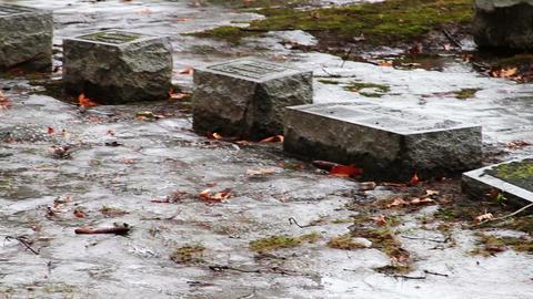 1115 Grave Stones Under Ice Footage
