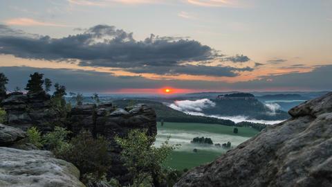 4k UHD Sunset And Fog Saxon Swiss Mountain 11441 stock footage