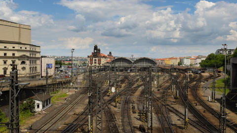 4k UHD prague train station traffic time lapse 114 Stock Video Footage