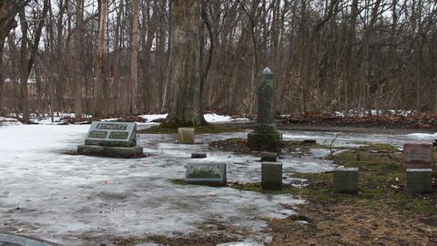 1118 Grave Stones Under Ice Footage