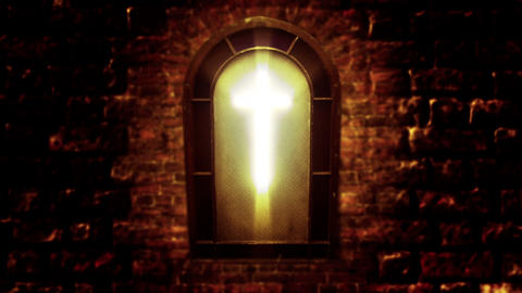 1138 Church Stain Glass Cross, HD Stock Video Footage