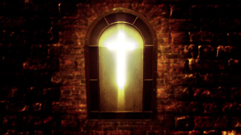 1139 Church Stain Glass Cross, 4K Footage