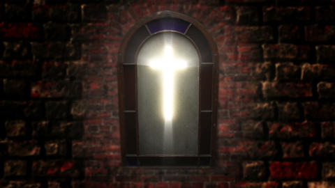 1141 Church Stain Glass Cross, 4K Footage