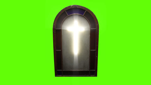 1143 Church Stain Glass Cross with Green Screen Footage