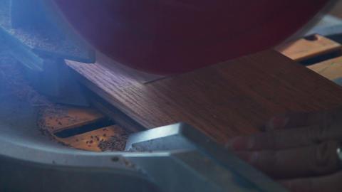 1151 Miter Saw , Sawing into Oak Wood Footage