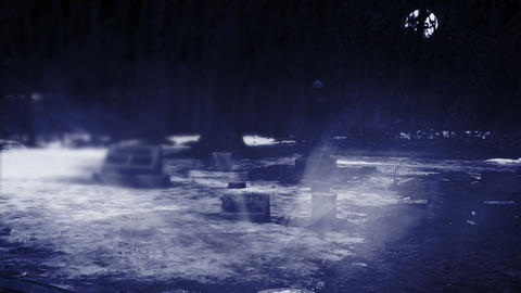 Grave Yard at Night with Heavy Fog Footage