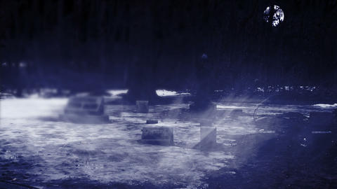 Grave Yard at Night with Heavy Fog Stock Video Footage