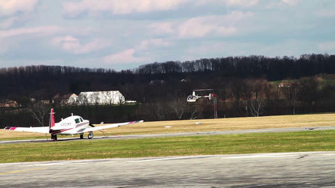 1187 Helicopter Landing at Airport Stock Video Footage