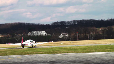 1187 Helicopter Landing at Airport Footage