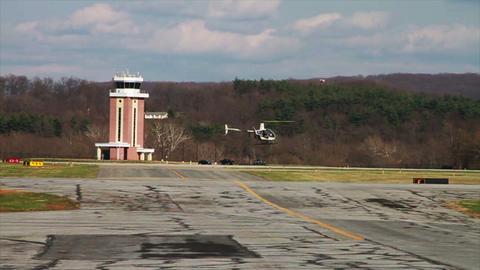 1193 Helicopter Lift Off Flying With Blue Sky And stock footage