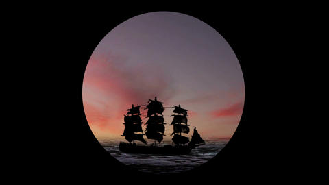 Pirate/Colonial Sailboat at Sunset Through Telesco Footage